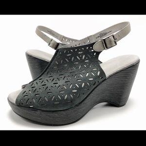 Jambu Vera 9.5M Leather Platform Wedge Sandals